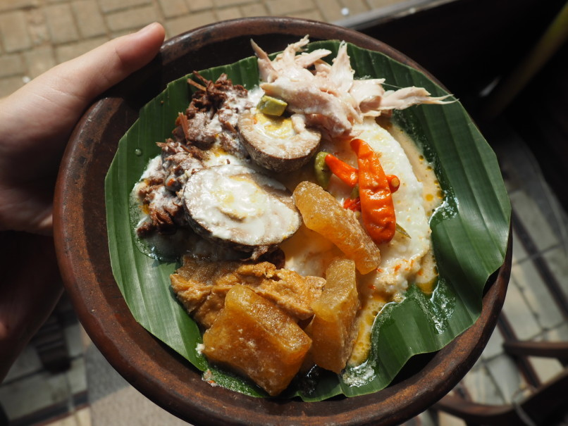 Gudeg Kandjeng's special 'Bubur Kandjeng' has more toppings than porridge. (JG Photo/Joy Muchtar)
