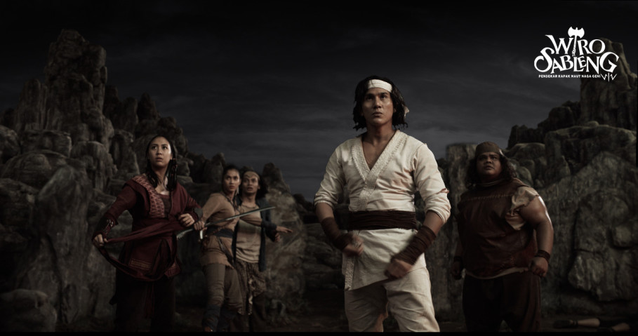 Sherina as Anggini, Aghniny Haque as Rara Murni, Yusuf Mahardika as Pangeran, Vino G. Bastian as Wiro Sableng and Fariz Alfarazi as Bujang Gila Tapak Sakti. (Photo courtesy of Lifelike Pictures)