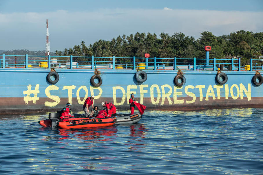 "Greenpeace activist paint the body of ship using water based paint reads ""Stop Deforestation Now"" during an action. Photo Courtesy of Greenpeace"