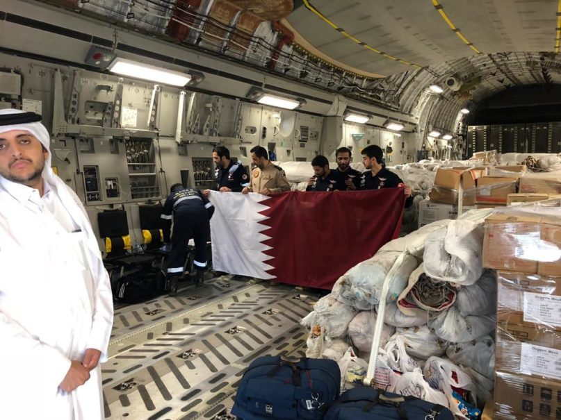 Humanitarian aid provided by the Qatari government for victims of the Central Sulawesi disaster arrives in Jakarta on Monday. (Photo courtesy of the Qatari Embassy in Jakarta)