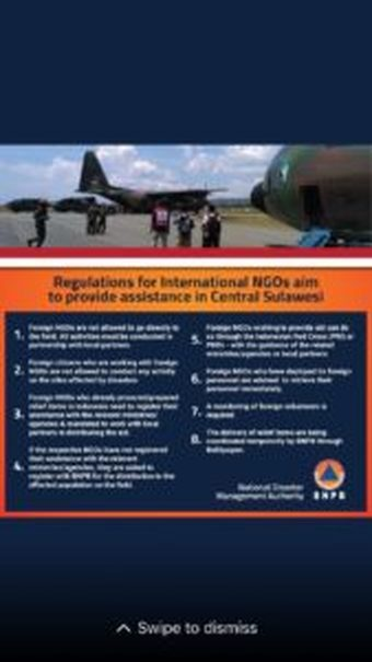 Government regulations on international relief agencies seeking to provide aid in disaster areas in Central Sulawesi. (Photo courtesy of BNPB)