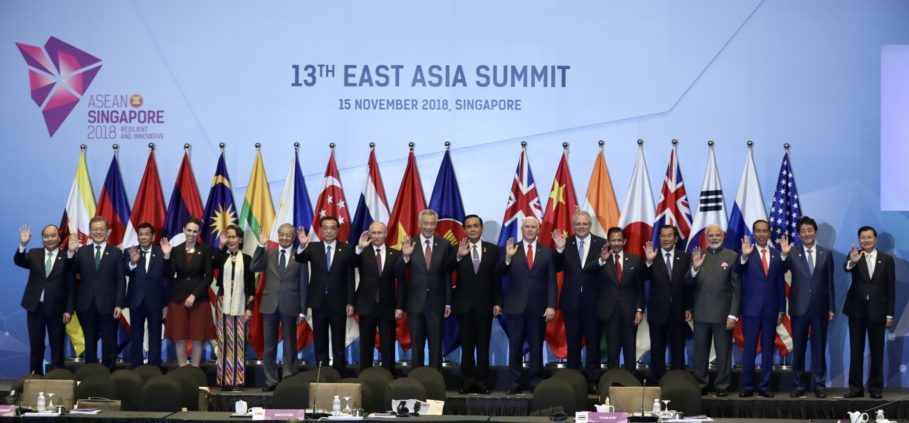 Leaders of the 18 countries participating in the East Asia Summit pose for a photo ahead of their meeting in Singapore on Thursday last week. (Photo courtesy of Asean)
