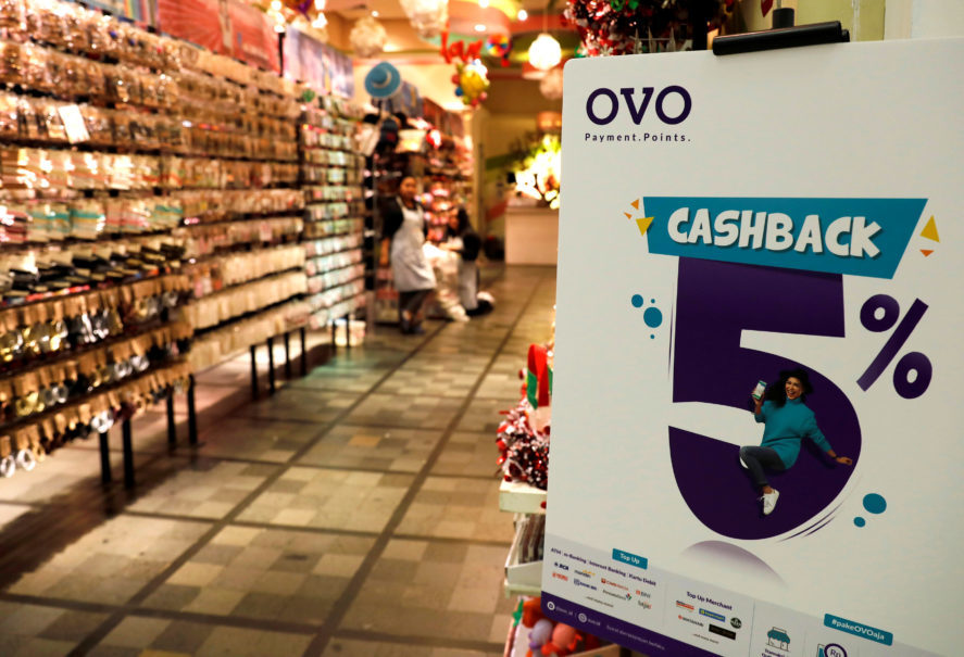 An OVO payment sign is seen at a mall in Jakarta. (Reuters Photo/Beawiharta)