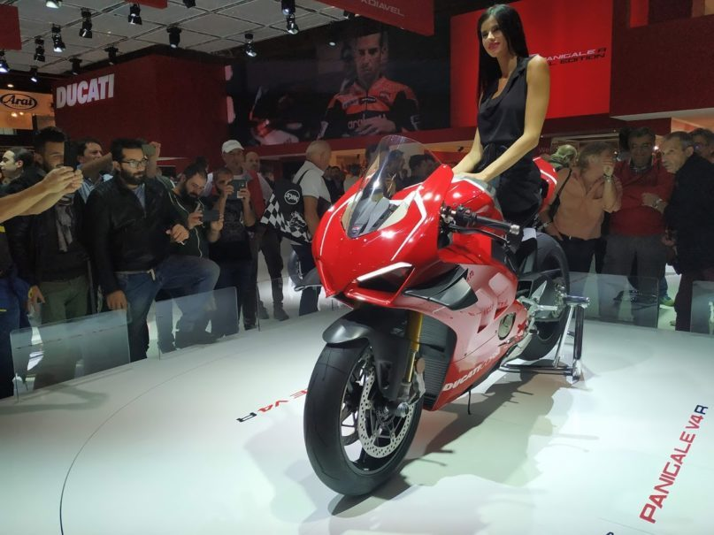 Ducati's latest road-legal competition bike, the Panigale V4R. The bike uses the same engine as the Desmosedici Stradale R, which will soon compete in the 2019 World Superbike competition. (JG Photo/Dion Bisara)