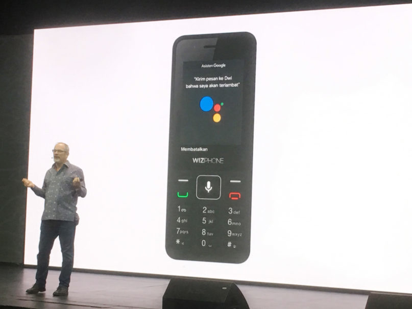 Scott Huffman, Google Assistant vice president of engineering, introducing the new WizPhone during Tuesday's event. (JG Photo/Joy Muchtar)