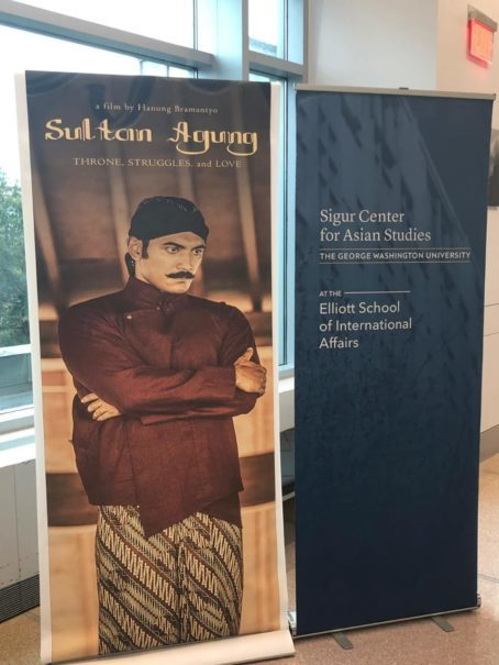 A poster of Hanung Bramantyo's film 'Sultan Agung' on display at the event in Washington, D.C., on Sunday. (Photo courtesy of Permias DC)