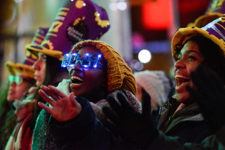 Revelers gather in Times Square on New Year's Eve in New York on Dec. 31, 2016. (Reuters Photo/Stephanie Keith)