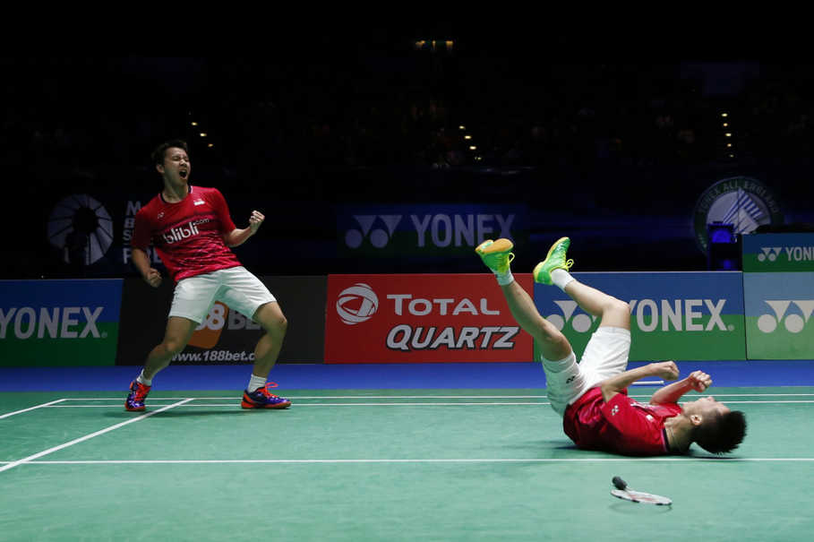 This was Kevin and Marcus' first win at the All England, and also first win against the Chinese pair. (Reuters Photo/Andrew Boyers)