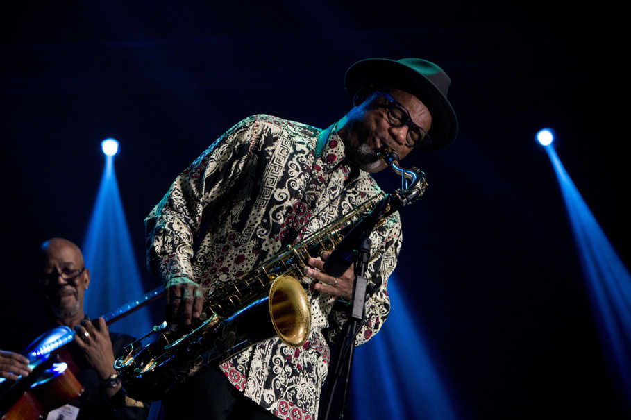 Saxophonist Kirk Whalum plays Whitney Houston's 'I Will Always Love You' at the 2017 Java Jazz Festival at JIExpo Kemayoran in North Jakarta on Friday (03/03). (JG Photo/Yudha Baskoro)