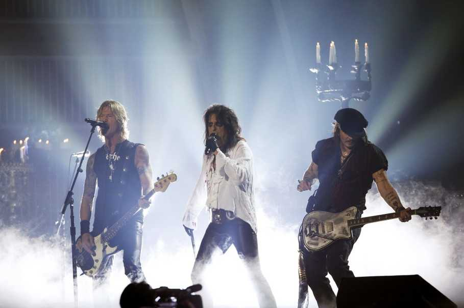 Alice Cooper, center, will perform at Perth Arena in October. (Reuters Photo/Mario Anzuoni)