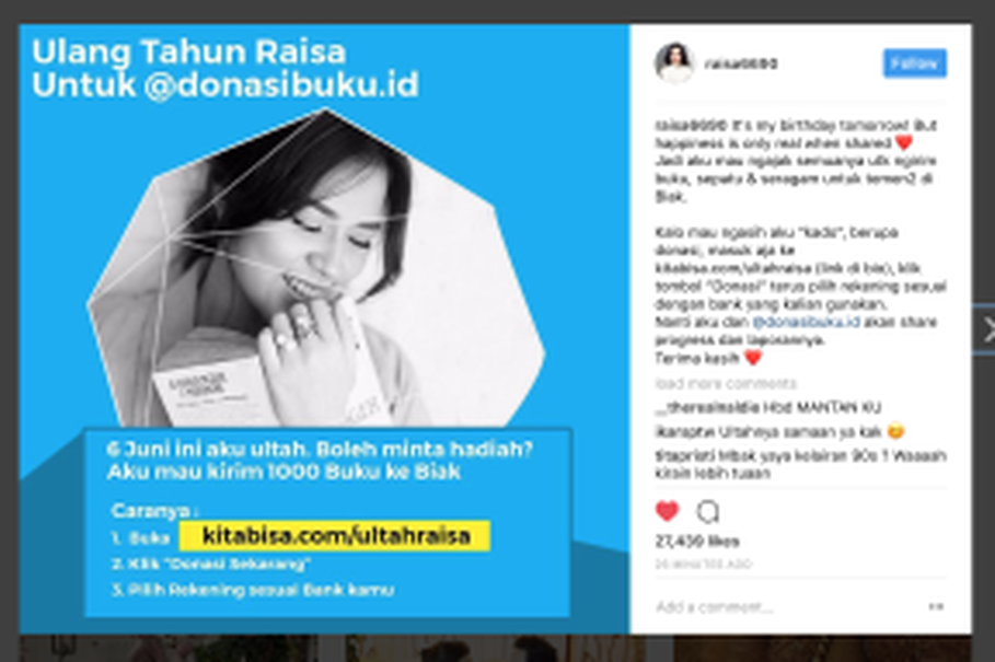 Many Instagram users praise Raisa's goodwill on her official Instagram account. (Photo Courtesy of Ogi Wicaksana Public Relations)