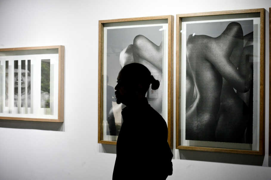 Deden Durahman stands near his work at the RUCI Art Space on Wednesday (12/07) in South Jakarta. (JG Photo/Yudha Baskoro)