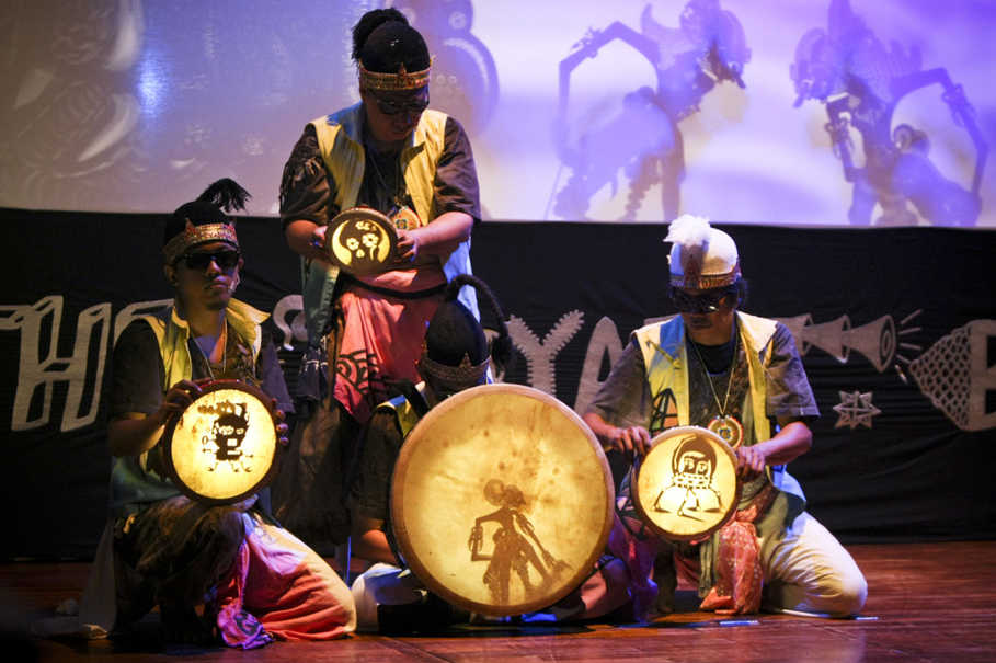 Dalang, or puppeteers, do not sit in front of the screen with the gamelan musicians, as the music is prerecorded. (JG Photo/Yudha Baskoro)