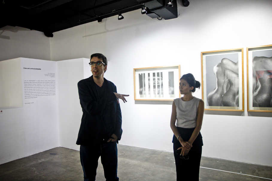 Roy Voragen, left, and RUCI Art Space director Melin Merrill in South Jakarta on Wednesday (12/07). (JG Photo/Yudha Baskoro)