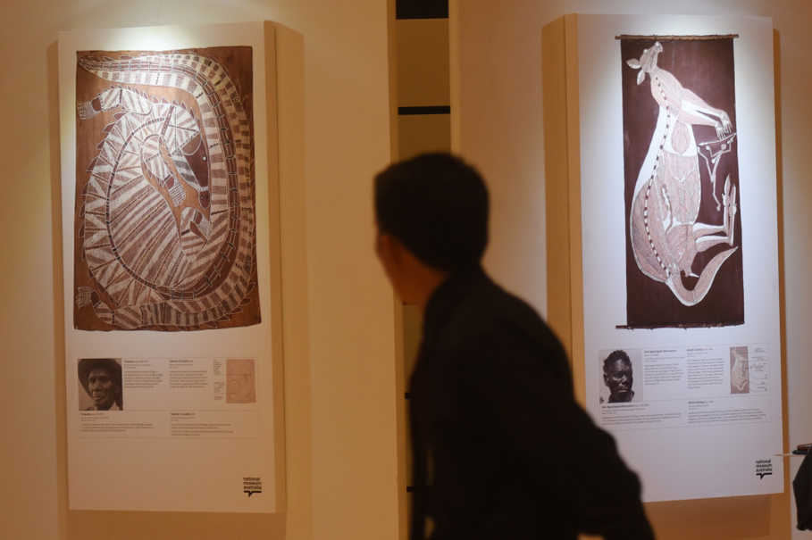 Digitally reproduced bark paintings will be on display at the Australian Embassy in Patra Kuningan, South Jakarta, until Thursday. (Antara Photo/Akbar Nugroho Gumay)