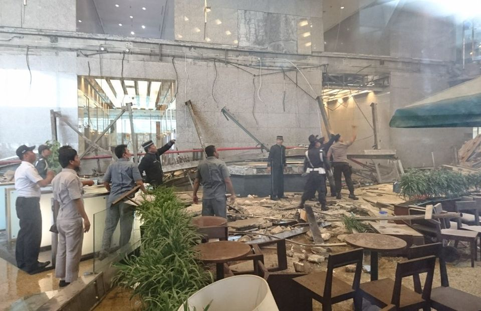 Floor Collapses at Indonesia's Stock