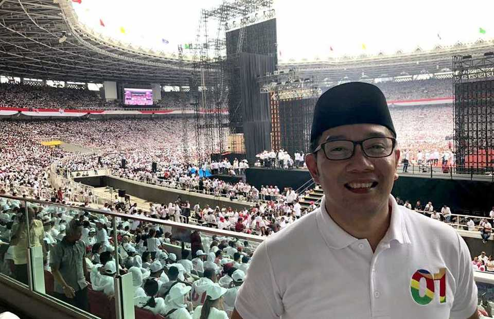 West Java Governor Ridwan Kamil photographed while attending the rally. (Photo courtesy of Ridwan Kamil)