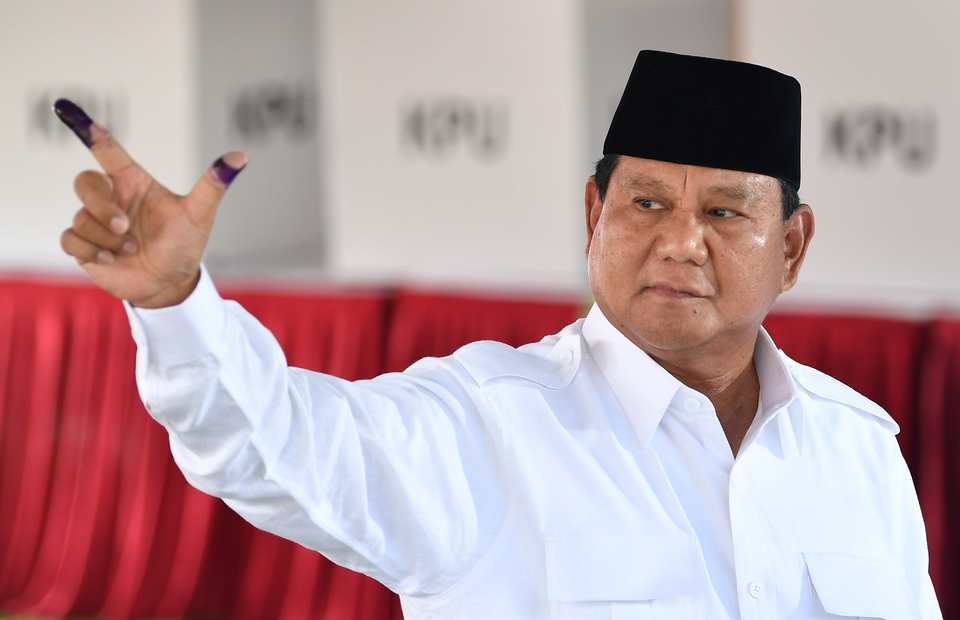 Presidential candidate Prabowo Subianto seen after voting at a polling station in Curug village in Bogor district, West Java. (Antara Photo/Sigid Kurniawan)