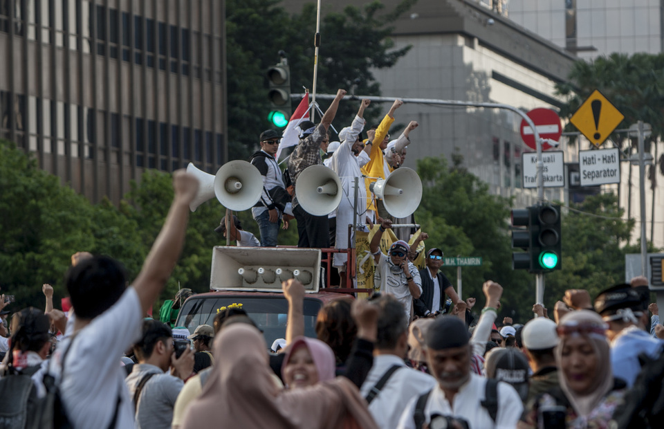 May 21 Protesters demand the Indonesian government to reject the election results (JG Photo/Yudha Baskoro)