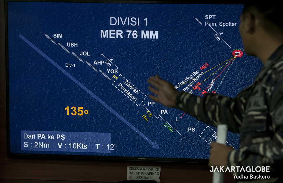 Indonesian Navy personnel explains warships formation before training with 76mm long-range single cannon on KRI Abdul Halim Perdanakusuma on Thursday (11/07) (JG Photo/Yudha Baskoro)