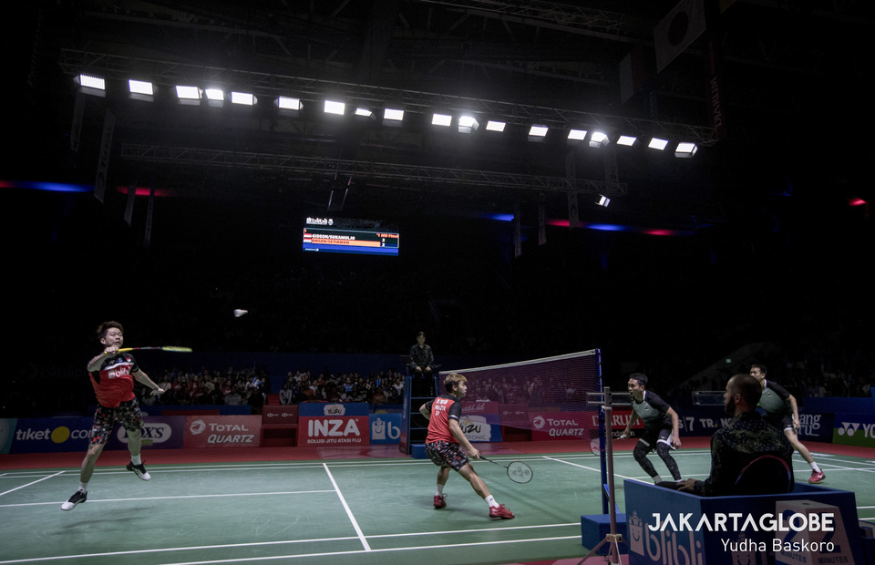 All Indonesian Finals : The Minions and The Daddies duel for the first place during 2019 Indonesia Open final match at Gelora Bung Karno Sports Complex in Jakarta on Sunday (21/07). (JG Photo/Yudha Baskoro)