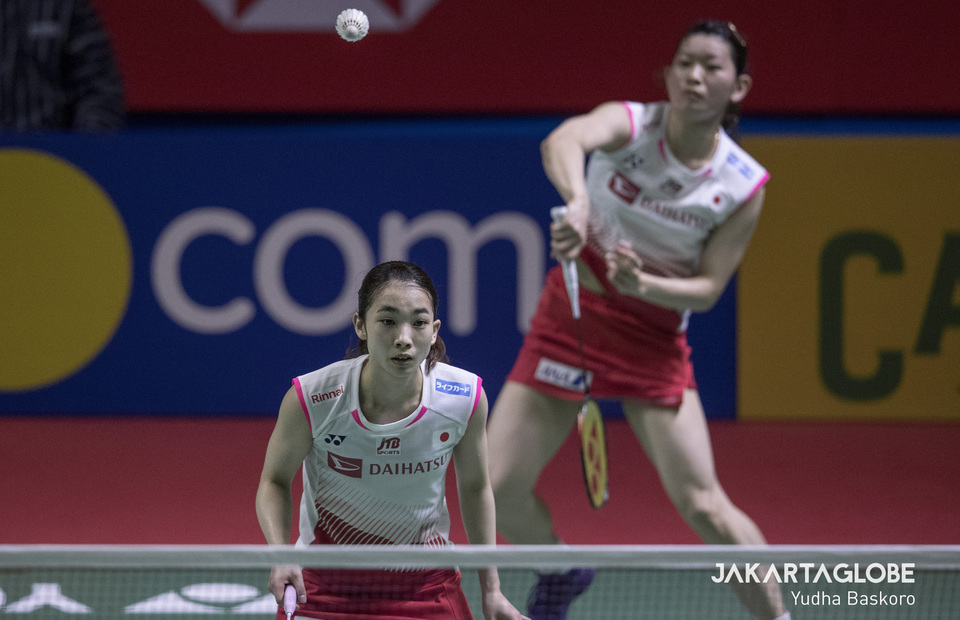 Misaki Matsutomo and Ayaka Takahashi of Japan in action during the womens doubles final of 2019 Indonesia Open (JG Photo/Yudha Baskoro)