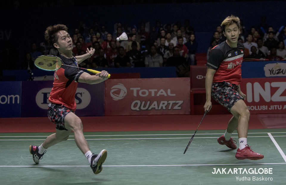 Kevin Sanjaya Sukamuljo and Marcus Fernaldi Gideon defend their Blibli Indonesia Open 2019 part of the BWF World Tour Super 1000 men
