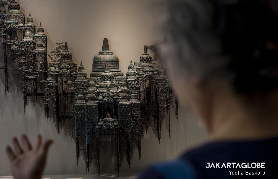 An artwork by Indonesian sculptor I Nyoman Nuarta on display at Art Jakarta 2019. Nyoman was a pioneer of the Indonesian New Art Movement in 1976. The Garuda Wisnu Kencana Statue in Bali and Jalesveva Jayamahe Monument in Surabaya, East Java, are among his best-known creations. (JG Photo/Yudha Baskoro)