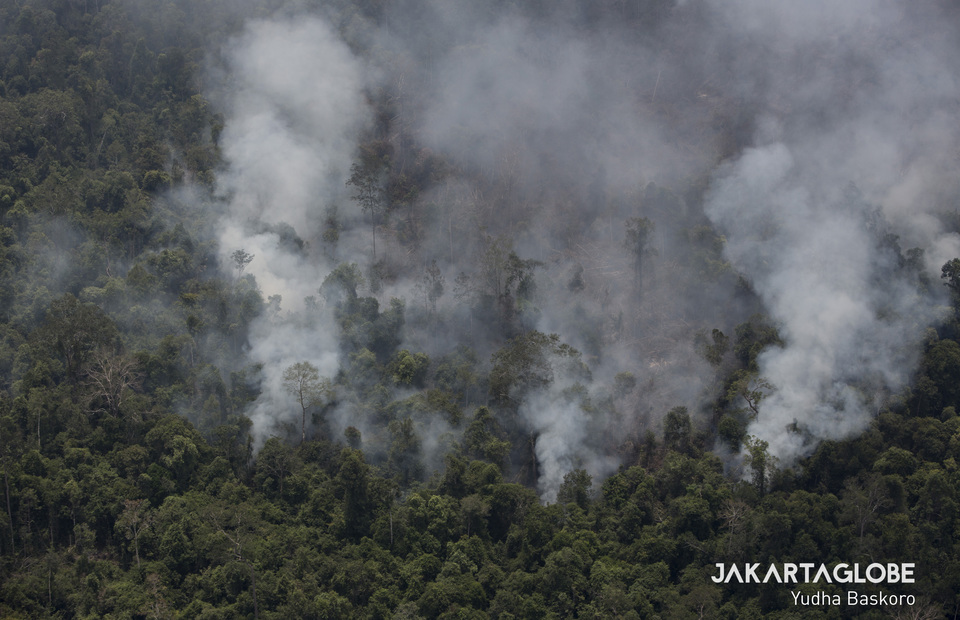 The forest in Katingan Hilir started to emit smoke and became a new hot spot in Kapuas Regency on Tuesday (01/10). (JG Photo/Yudha Baskoro)