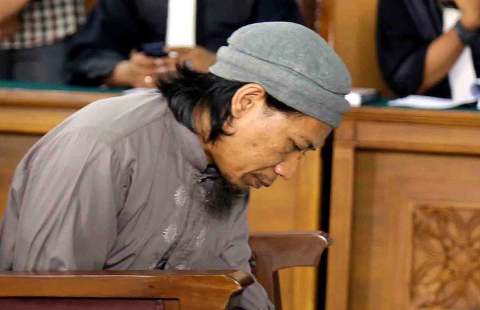 Terror convict Aman Andurrahman, founder of the militant group Jamaah Ansharut Daulah, attends a hearing at the South Jakarta District Court on May 18, 2018. (B1 Photo/Joanito De Saojoao)