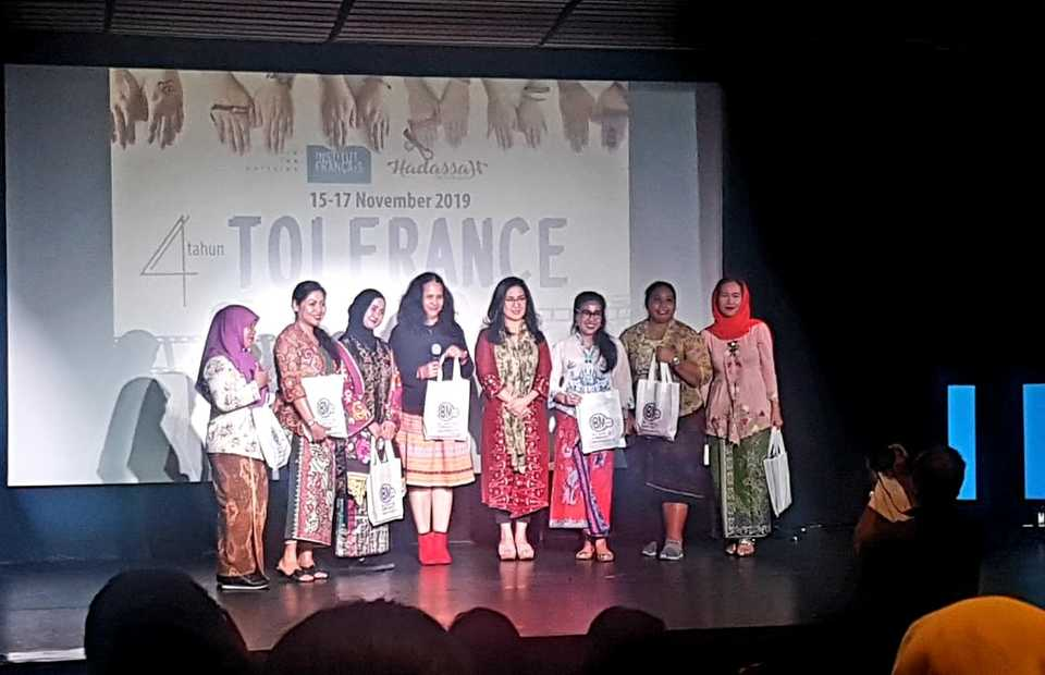 Speakers of Kebaya Monologue, a side event at the Tolerance Film Festival, in Jakarta, on Friday. (JG Photo/Nur Yasmin)