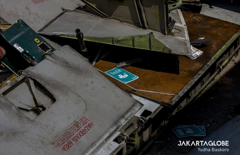 The book menu belongs to Saudi Arabias first budget airline, Flynas is seen among the pieces of aircraft manacles. (JG Photo/Yudha Baskoro)