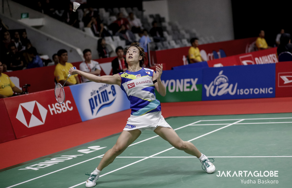 Japanese Nozomi Okuhara in action during match againts Carolina Marin of Spain at Daihatsu Indonesia Master 2020 in Istora Senayan, Central Jakarta on Thursday (16/01). (JG Photo/Yudha Baskoro)