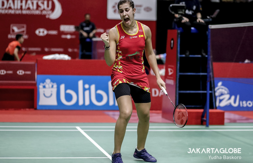 Carolina Marin of Spain celebrates her victory after won women