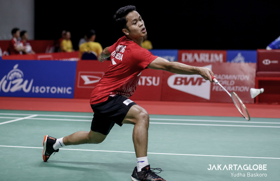 Anthony Sinisuka Ginting made it to the quarter-finals after beat his fellow countrimen, Tommy Sugiarto. (JG Photo/Yudha Baskoro)
