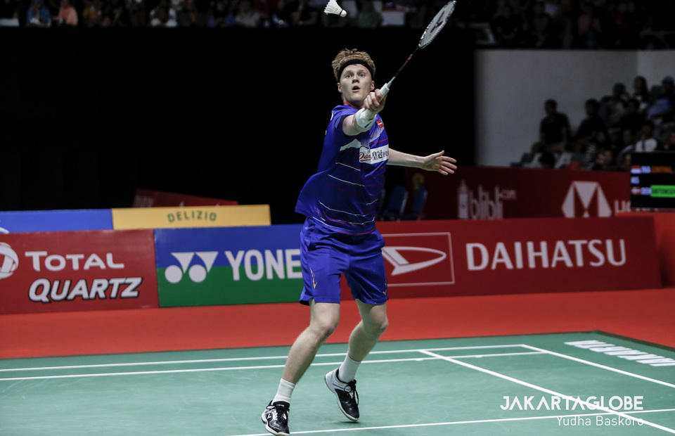 Anders Antonsen from Denmark jumps during Indonesia Masters 2020 final match againts Anthony Sinisuka Ginting from Indonesia. (JG Photo/Yudha Baskoro)