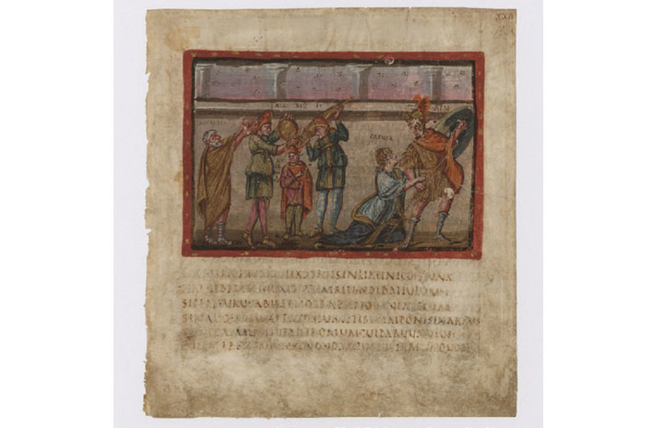 A digitized page of Aeneid, a rare manuscript written by the ancient Roman poet Virgil. The illustration shows how Creusa tries to detain her husband Aeneas from battle. (Photo Courtesy of the Vatican Library)
