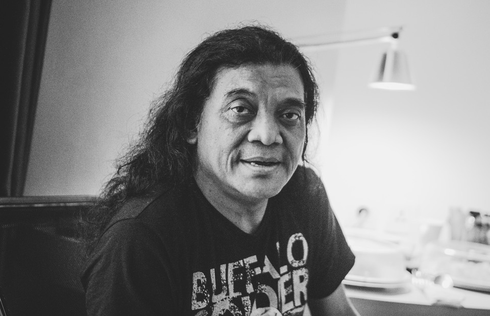 Portrait of Didi Kempot without his glory stage dress in Kemayoran, Jakarta.