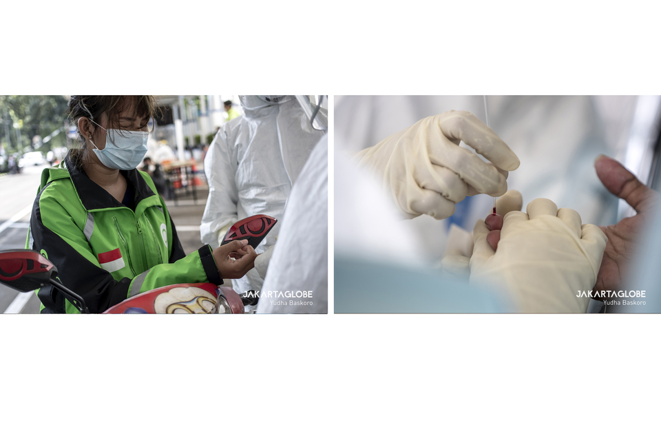 1. An online transportation driver reacts as a medical worker takes a blood sample through her finger tip. 2. A health worker pricks a finger for a sample of blood. (JG Photo/Yudha Baskoro)