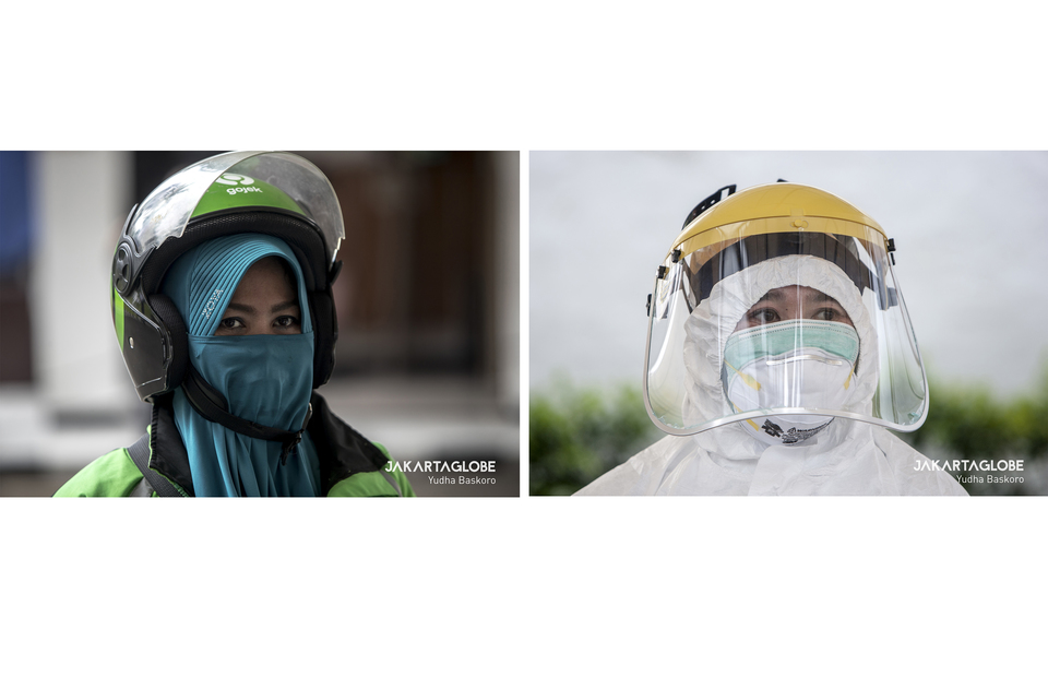 1. Online transportation driver wearing hijab as a face mask, a coronavirus protection. 2. A health worker wearing double face mask during rapid testing for coronavirus at Ministry of Transportation building on Monday (20/04). (JG Photo/Yudha Baskoro)