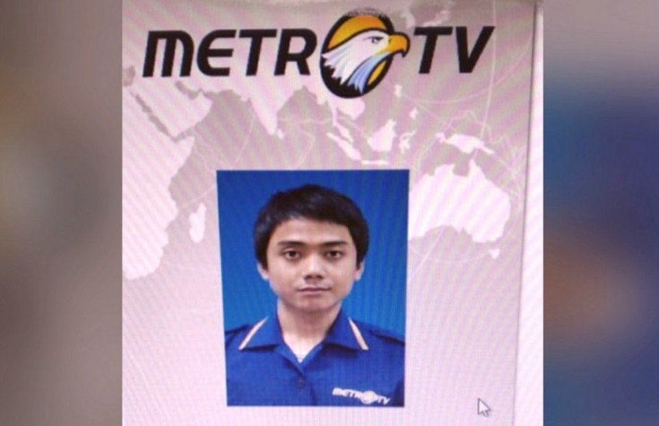 The photograp of Yodi Prabowo on Metro TV ID card. (Antara Photo)