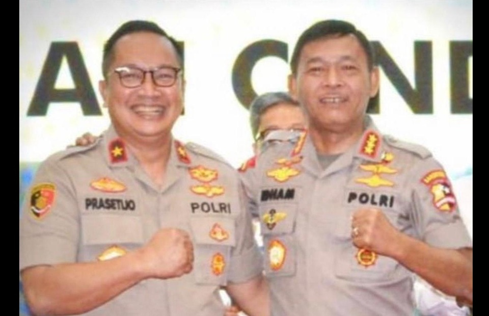 Prasetijo Utomo, left, poses for a photo with Police Chief Gen. Idham Aziz in this undated photo taken from Prasetijo s social media account. (Farouk Arnaz)