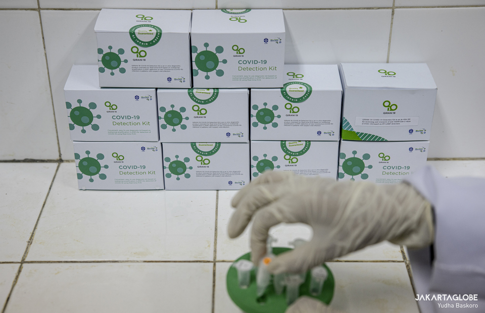 QIRANI 19, the COVID-19 virus detection kit are seen at LIPI chemical laboratory, in Serpong, Tangerang, Banten on Monday (31/08). (JG Photo/Yudha Baskoro)