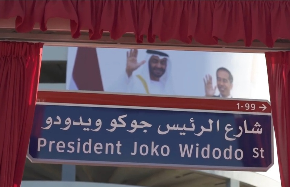 A street in Abu Dhabi, United Arab Emirates, is named President Joko Widodo on Oct. 20, 2020. (Photo: Emirates News Agency)