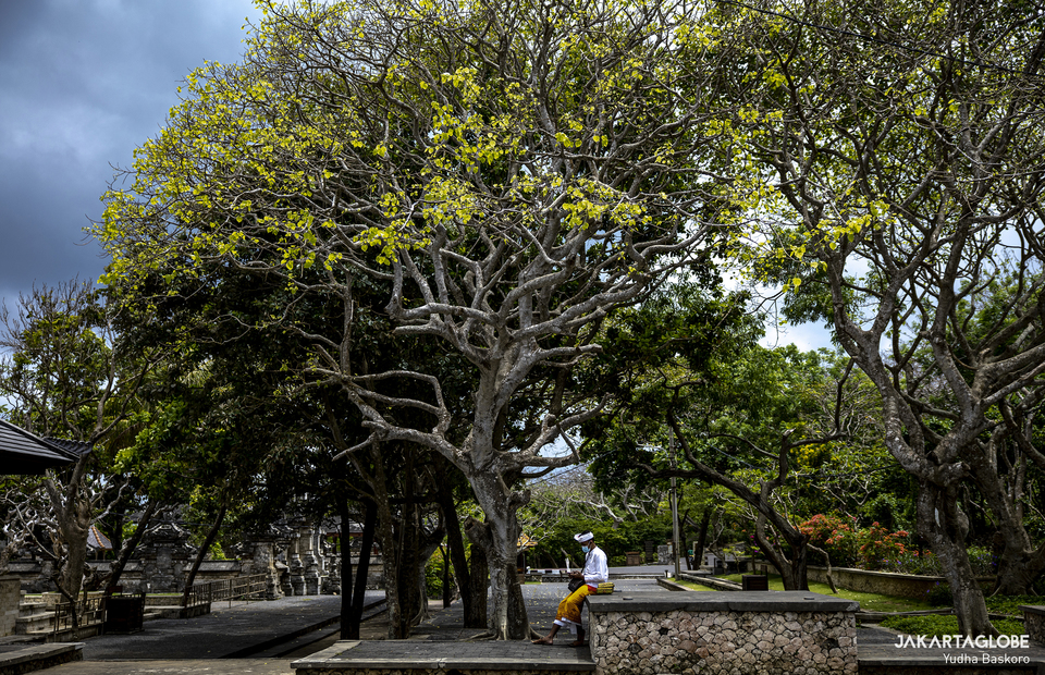 A man sits under a tree inside Pura Luhur Uluwatu in Bali on Tuesday (20/10). (JG Photo/Yudha Baskoro)
