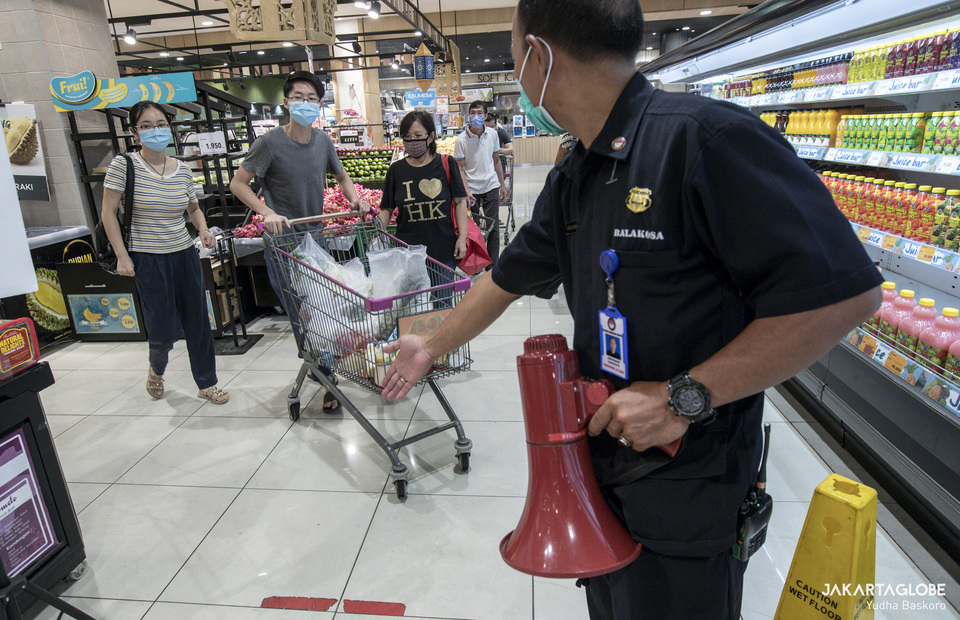 AEON security officers carry a bullhorn they use to warn visitors who don