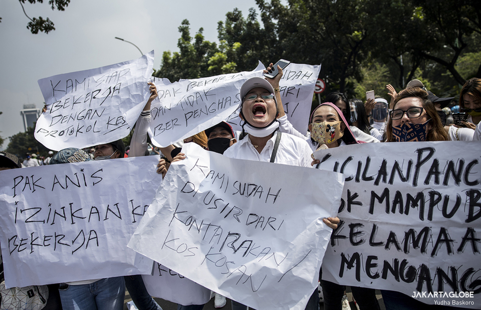 Nightlife industry workers hold a rally in front of City Hall in Central Jakarta on July 21, 2020. (JG Photo/Yudha Baskoro)