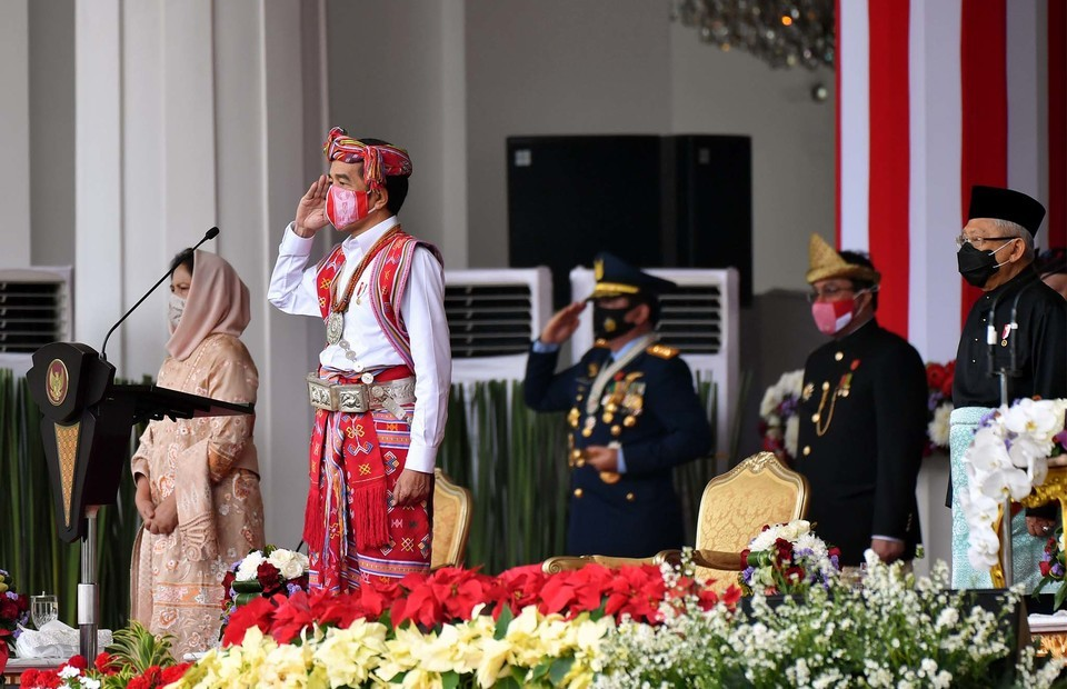 President Joko Widodo (Jokowi) led the 75th Independence Day ceremony in the State Palace, Jakarta, on August 17, 2020. (Presidential Photographer/Agus Suparto)