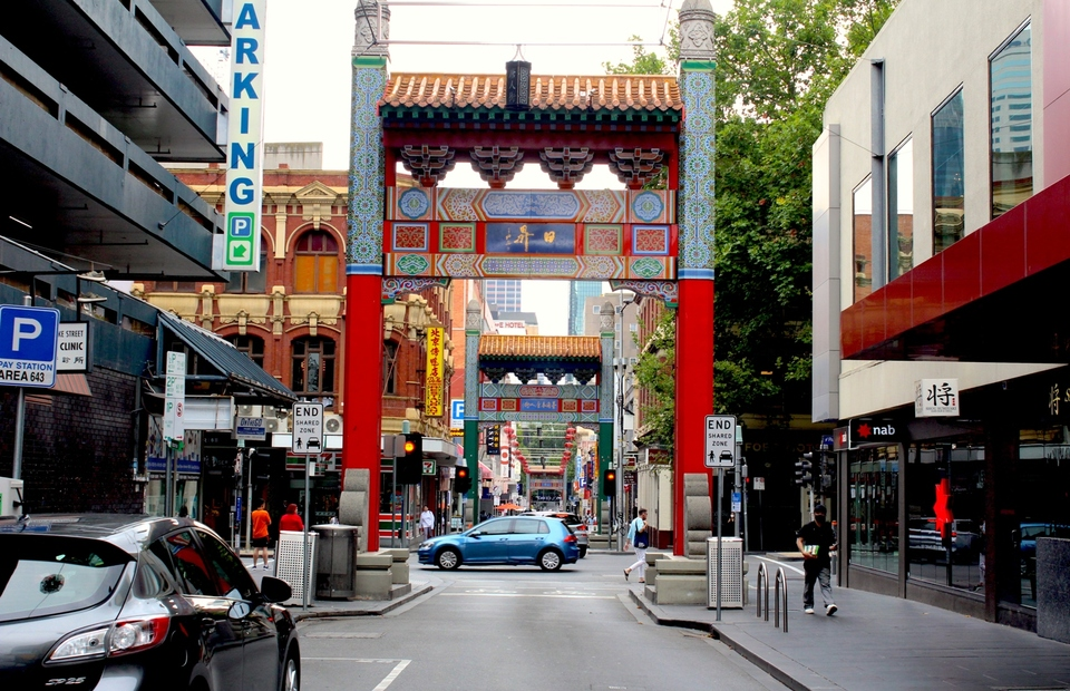 In this Feb. 1, 2021 photo, an intersection at the Chinatown area in Melbourne looks quiet ahead of the Lunar New Year as Covid-related social restrictions are in place. (JG Photo/Sienna Curnow)