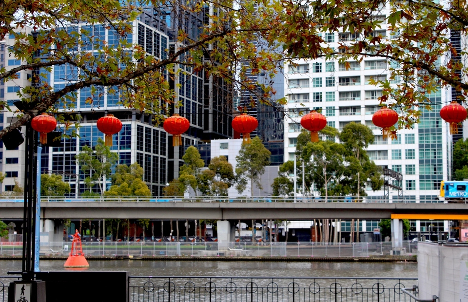 Queensbury Square in Melbourne is decorated with red lanterns ahead of the Lunar New Year that falls on Februaty 12, 2021. The photo was taken on February 1, 2021. (JG Photo/Sienna Curnow)